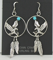 Authentic Native American Navajo NOS Eagle Hoop Feather Wire Earrings