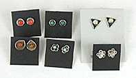 Lot of six pair of vintage NOS Sterling Silver and stone post earrings