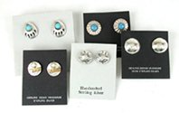 Lot of five pair of vintage NOS Sterling Silver and stone post earrings