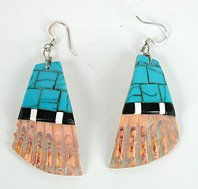 Vintage shell and turquoise inlay wire earrings