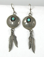vintage sterling silver Shield with Feathers and turquoise wire earrings