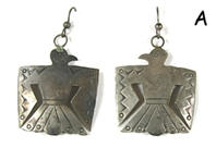 vintage stamped Sterling Silver Native Symbols wire earrings