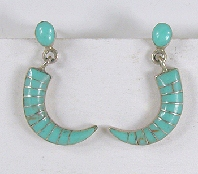 authentic Native American sterling silver and  turquoise post claw earrings by Navajo artist Robert Mayes