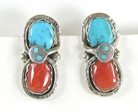 authentic Native American sterling silver turquoise and coral post snake earrings by Zuni artist Effie Calavaza