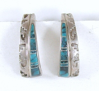 sterling silver turquoise inlay post earrings