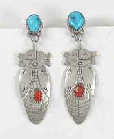 sterling silver turquoise and coral Corn Maiden post earrings