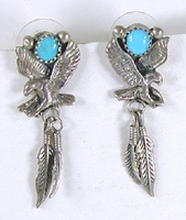 sterling silver eagles with feathers and turquoise post earrings