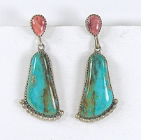 sterling silver orange spiny oyster and turquoise post earrings