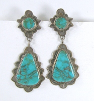 Navajo sterling silver Turquoise post earrings by Grace Smith