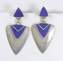 Navajo sterling silver Lapis Inlay post earrings by Marie Tsosie