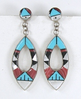 sterling silver inlay post earrings