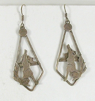 Authentic Native American sterling silver Howling Coyote Wire earrings by Navajo artist Alice Platero