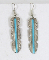 sterling silver Feather with turquoise inlay wire earrings