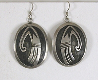 sterling silver Hopi Badger Paw Wire earrings