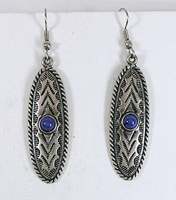 Authentic Native American sterling silver Lapis Lazuli Wire earrings by Navajo artist Anthony Kee