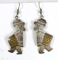 sterling silver Navajo Children with Drums Wire earrings by Benjamin Becenti