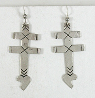 Authentic Native American sterling silver cross with turquoise Wire earrings by Navajo artist M.Willie