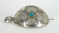 Vintage sterling silver and turquoise stick barrette