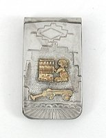 Vintage NOS sterling silver and gold storyteller money clip by Navajo T.A. Begay