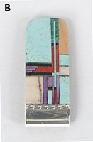 Vintage NOS sterling silver Multi-stone Inlay money clip