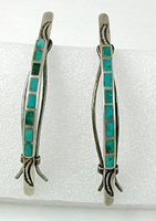 Vintage sterling silver and inlay turquoise barrettes