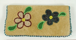 vintage suede leather beaded checkbook cover