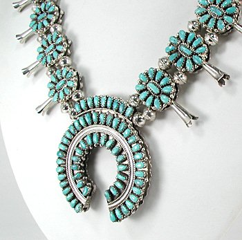 Navajo Squash Blossom Necklace Reversible Coral Turquoise
