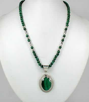 Native american malachite necklace with pendant navajo sterling silver native american malachite necklace pendant navajo pawn aloadofball Choice Image