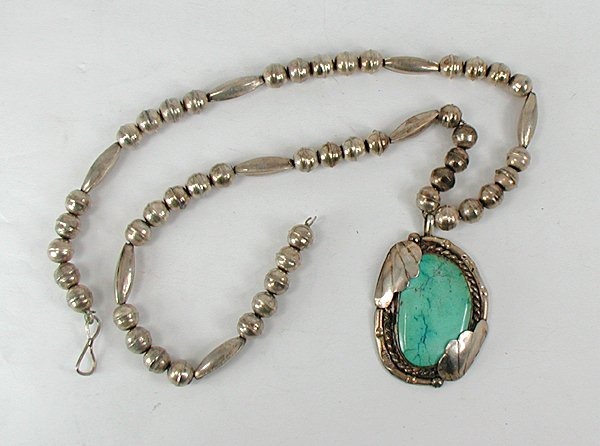 Authentic native american overlay disc necklace vintage native american sterling silver bead necklace with turquoise pendant mozeypictures Image collections