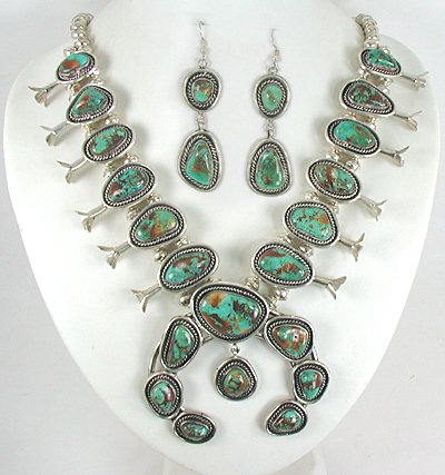bf2297ce6 Authentic Vintage Navajo sterling silver Royston Turquoise Squash Blossom  Necklace