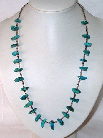 vintage turquoise nugget and heishi necklace