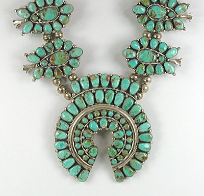 b0e61b11da9e Vintage sterling silver Turquoise Squash Blossom Necklace and Earrings set  by Navajo Juliana Williams