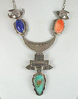 Authentic Native American sterling silver 4-Piece Component Kachina  Necklace by Navajo Bennie Ration
