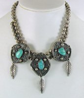 Vintage sterling silver 3-Medallion Turquoise necklace 16 inches