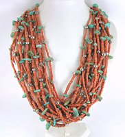 vintage 15-Strand coral heishi necklace with sterling silver beads and turquoise nuggets