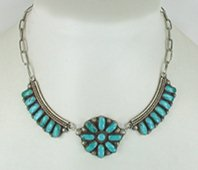 Authentic Native American vintage turquoise cluster necklace 14 inches by Zuni artists Dave and Celia Nieto