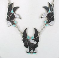 Authentic Native American vintage Inlay Eagle necklace 20 1/2 inches by Zuni artist Earlene Leekity