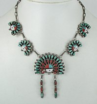 Authentic Native American vintage Sunface necklace 16 inches by Zuni artist Benjamin Tzunie, Jr,