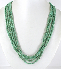 vintage sterling silver and green turquoise chip five strand  necklace 25 inch - front view