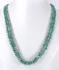 vintage sterling silver and green turquoise chip three strand  necklace 25 inch - front view