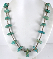vintage turquoise nugget and olive shell heishi necklace - front view