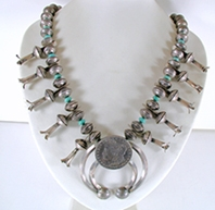 Authentic Liberty Dime and Dollar Navajo Squash Blossom Necklace