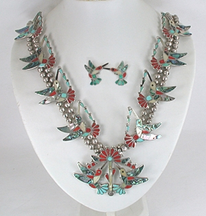 Vintage Inlay Hummingbird necklace and earrings set  28 inches long