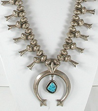 sterling silver Vintage Squash Blossom Necklace 28 inch