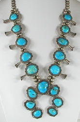 Vintage blue turquoise squash blossom necklace 26 inch
