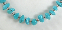 vintage turquoise nugget and olive shell heishi necklace