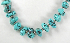 vintage turquoise nugget and olive shell heishi necklace 21 inch