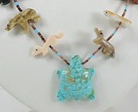 animal fetish necklace with turquoise turtle drop 28 inches long