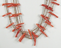 vintage NOS three strand coral bird necklace with olive shell heishi 28 inches