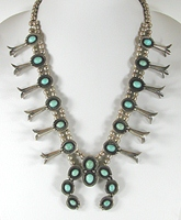 Vintage turquoise squash blossom necklace 22 inch